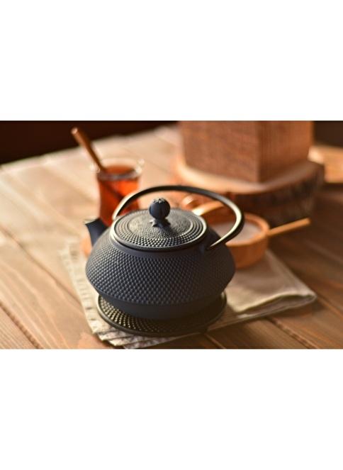 Bambum Taşev Linden - Sümbül 800 ml Gök Mavi Döküm Çaydanlık Mavi